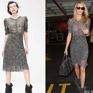 Isabel Marant H&M Floral Lurex Silk Chiffon Dress